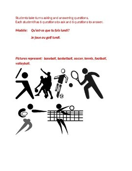 Sports et Jours (Sports and Days in French) Partner Speaking activity