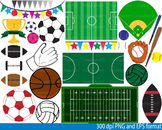 Sports fields-Equipment Set Clipart birthday party soccer