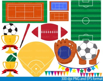 Sports fields-Equipment Set Clipart birthday party soccer tennis basketball-025-
