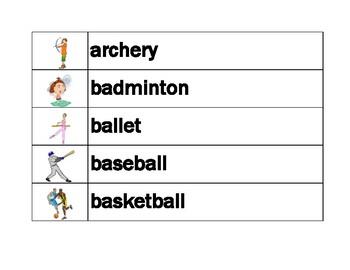 Sports in English Word wall