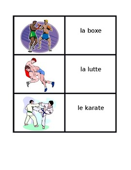 Sports in French Vocabulary Concentration games