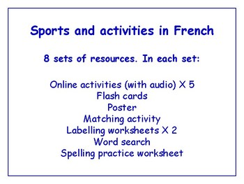 Sports in French Worksheets, Games, Activities & More (with audio) Bundle