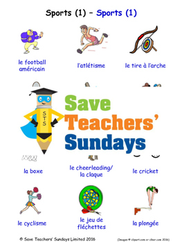 Sports in French Worksheets, Games, Activities and Flash Cards (1)
