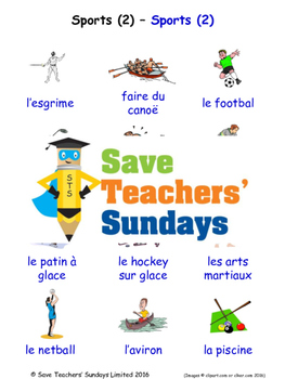 Sports in French Worksheets, Games, Activities and Flash Cards (2)