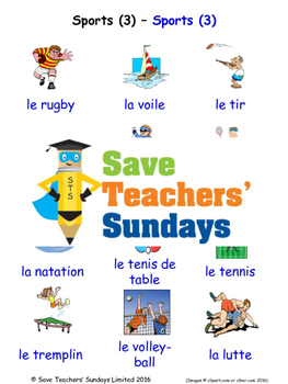 Sports in French Worksheets, Games, Activities and Flash Cards (3)