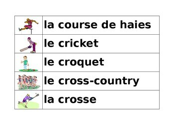 Sports in French Word Wall