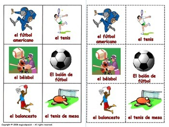 Sports in Spanish. Lottery (Board Game).