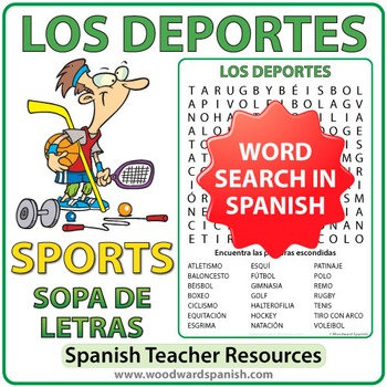 Sports in Spanish Word Search - Los Deportes by Woodward Education 425b4fc51a80e