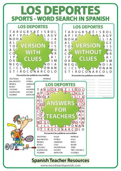 Sports in Spanish Word Search - Los Deportes