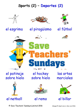 Sports in Spanish Worksheets, Games, Activities and Flash Cards (2)