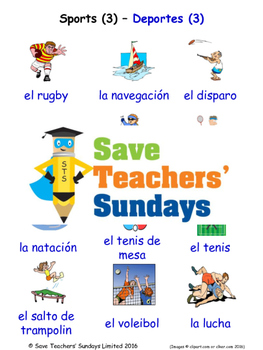 Sports in Spanish Worksheets, Games, Activities and Flash Cards (3)