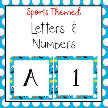 Sports letters and numbers for bulletin board, calendars, & class management