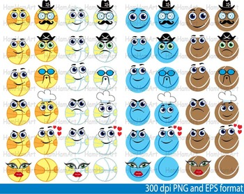 Sports school Kawaii Faces Stickers Emoji heroes Clipart basketball baseball 099