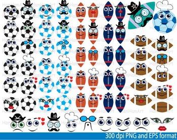 Sport school Kawaii Faces Stickers Emoji heroes Clipart football soccer -100-
