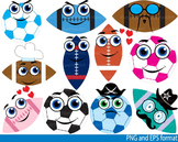 Sport school Kawaii Faces Stickers Emoji heroes Clipart fo
