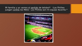 Sports/sporting event Spanish vocabulary PowerPoint w/ activities