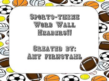 Sports-theme Word Wall Headers!