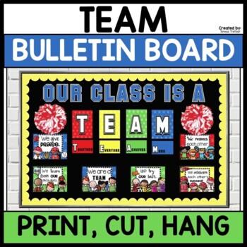 Editable sports theme bulletin board ~ TEAM