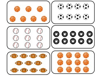 Sports themed Printable Counting Flash Cards. Preschool Math Flash Cards.