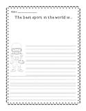 Sports themed persuasive writing organizer and worksheet