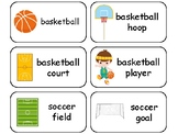Sports themed printable Picture Word Flashcards. Preschool flashcards.