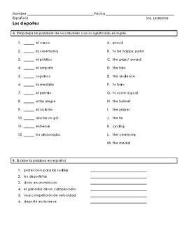 Sports vocabulary homework sheet