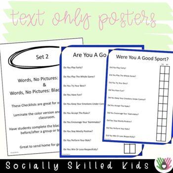 SOCIAL SKILLS: Good Sport Checklists~ Visual Supports