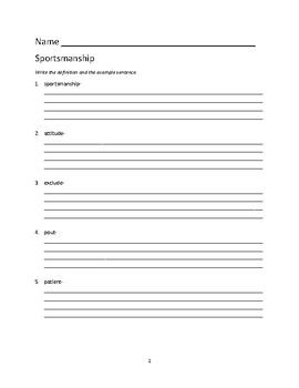 Sportsmanship Dictionary Dig