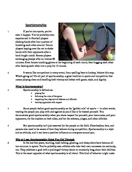 Sportsmanship - Informational Text Test Prep