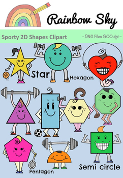 Sporty 2D Shapes Clipart - Set for Teachers