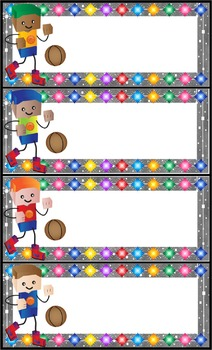 Name Tags Sporty BLOCKCRAFT Kids - EDITABLE