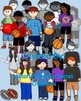 Sporty & Jazzy Kids Clip Art Color and Black and White 24 in all