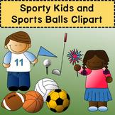 Sports Kids and Sports Balls Clip Art