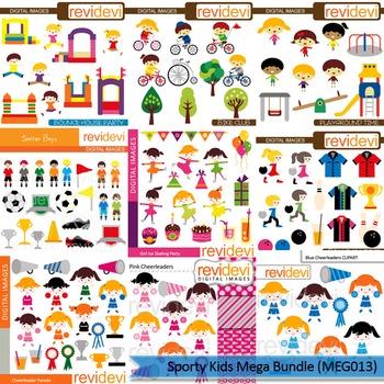 Sporty Kids clip art mega bundle (9 packs)