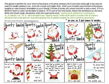 Sporty Santa Quick Drill {for articulation or fluency therapy & RTi}