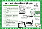 Sporty Spellings Index: Spelling & Writing Activities for 7-9yrs