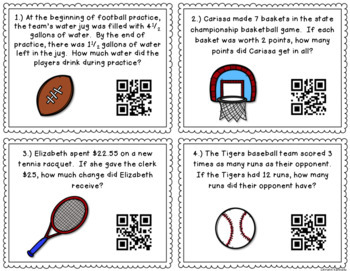 Sporty Story Problems QR Code Task Cards