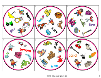 Spot 2!  Fun Card Game for Articulation Groups:  R