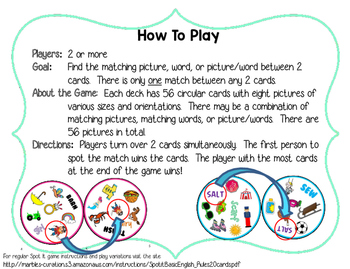 Spot 2! Fun Card Game for Articulation Groups: T/D