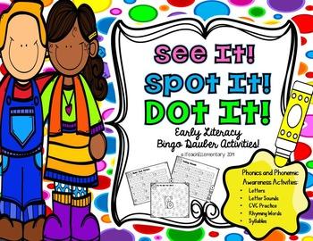 Spot & Dot! Literacy Edition {letter recognition, CVC, syllables, rhyming}