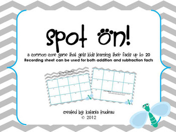 Spot On Addition and Subtraction Recording Sheet
