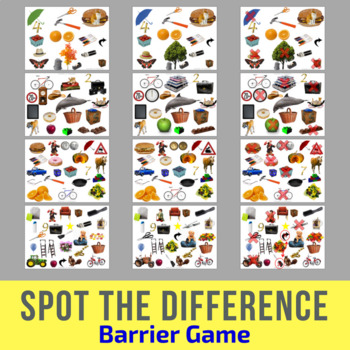 Spot The Difference Barrier Game For Children Adults Speech Therapy