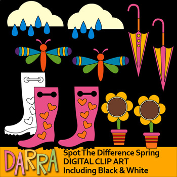 Spot The Difference Clip Art for Spring Activities