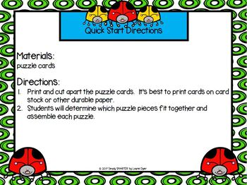 Spot The Dot Puzzles:  LOW PREP Bug Themed Word Family Puzzles