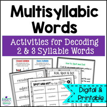 Multisyllabic Words Intervention Activities- Spot and Dot