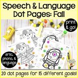 Spot-on Speech & Language: Fall; Preschool No Prep Dot Art