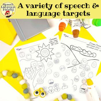 Spot-on Speech & Language: Spring; Preschool Print-N-Go Dot Art Pages/Dough Mats