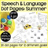 Spot-on Speech & Language: Summer; Preschool No Prep Dot Art Pages/Dough Mats