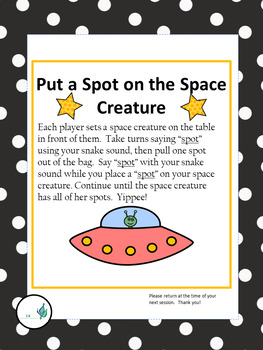 Phonology (Articulation) SP cluster /Oral Language-Spot on the Space Monster