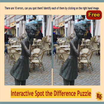 Free Spot the Difference Puzzle - Girl Statue